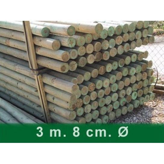 Palet postes torneados sin punta 300 x 8 cm Ø